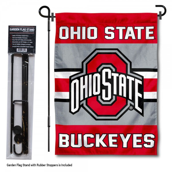 """Ohio State University Garden Flag and Stand kit includes our 13""""x18"""" garden banner which is made of 2 ply poly with liner and has screen printed licensed logos. Also, a 40""""x17"""" inch garden flag stand is included so your Ohio State University Garden Flag and Stand is ready to be displayed with no tools needed for setup. Fast Overnight Shipping is offered and the flag is Officially Licensed and Approved by the selected team."""