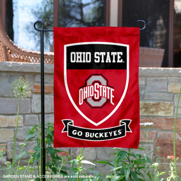 Ohio State University Go Buckeyes Shield Garden Flag is 13x18 inches in size, is made of 2-layer polyester, screen printed university athletic logos and lettering, and is readable and viewable correctly on both sides. Available same day shipping, our Ohio State University Go Buckeyes Shield Garden Flag is officially licensed and approved by the university and the NCAA.