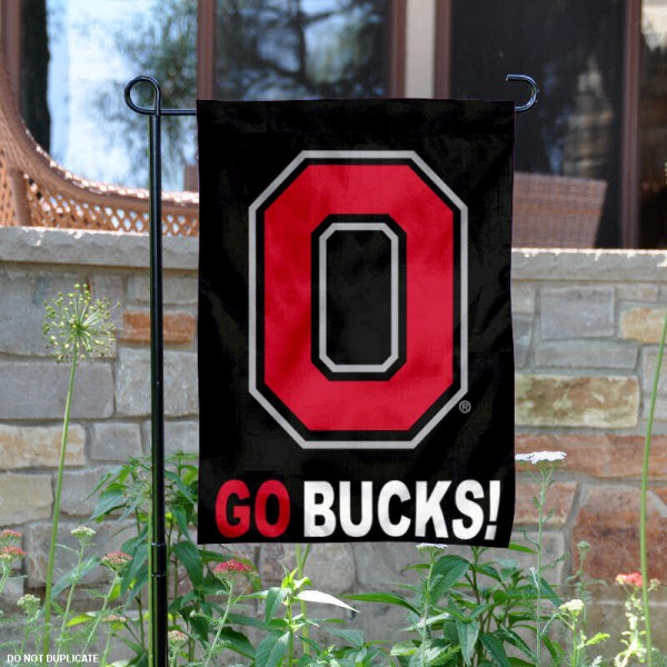 Ohio State University Go Bucks Garden Flag is 13x18 inches in size, is made of 2-layer polyester, screen printed university athletic logos and lettering, and is readable and viewable correctly on both sides. Available same day shipping, our Ohio State University Go Bucks Garden Flag is officially licensed and approved by the university and the NCAA.