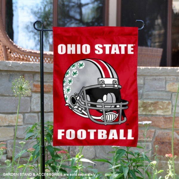 Ohio State University Football Helmet Garden Banner is 13x18 inches in size, is made of 2-layer polyester, screen printed Ohio State University athletic logos and lettering. Available with Same Day Express Shipping, Our Ohio State University Football Helmet Garden Banner is officially licensed and approved by Ohio State University and the NCAA.