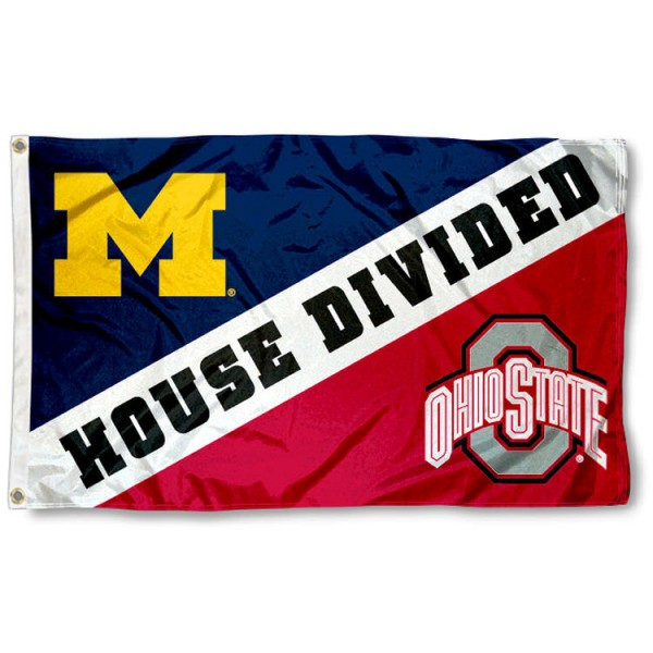 Ohio State vs. Michigan House Divided 3x5 Flag sizes at 3x5 feet, is made of 100% nylon, has quadruple-stitched fly ends, and the university logos are printed into the Ohio State vs. Michigan House Divided 3x5 Flag. The Ohio State vs. Michigan House Divided 3x5 Flag is approved by the NCAA and the selected university.