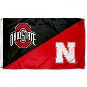 Ohio State vs Nebraska House Divided 3x5 Flag