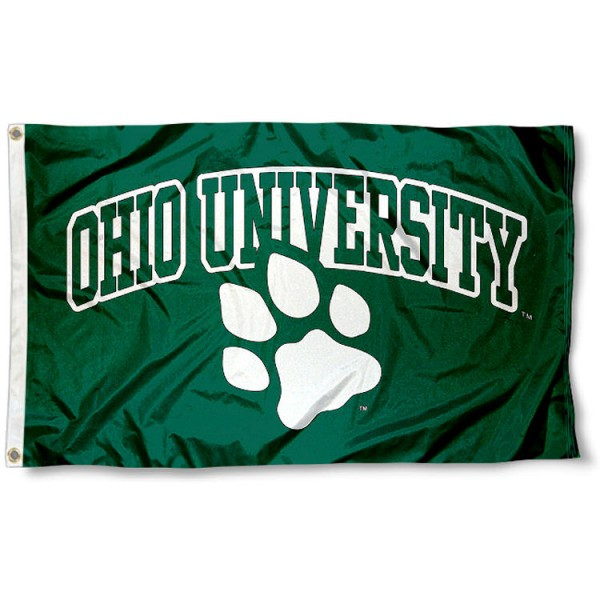 Ohio University Bobcat Flag measures 3'x5', is made of 100% poly, has quadruple stitched sewing, two metal grommets, and has double sided Ohio University Bobcat logos. Our Ohio University Bobcat Flag is officially licensed by the selected university and the NCAA
