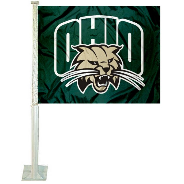 Ohio University Car Window Flag measures 12x15 inches, is constructed of sturdy 2 ply polyester, and has dye sublimated school logos which are readable and viewable correctly on both sides. Ohio University Car Window Flag is officially licensed by the NCAA and selected university.