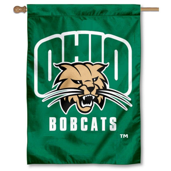 Ohio University Double Sided Banner is a vertical house flag which measures 28x40 inches, is made of 2 ply 100% nylon, offers screen printed NCAA team insignias, and has a top pole sleeve to hang vertically. Our Ohio University Double Sided Banner is officially licensed by the selected university and the NCAA.