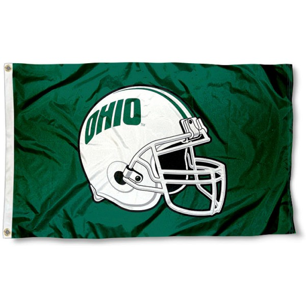 Ohio University Football Helmet Flag measures 3x5 feet, is made of 100% polyester, offers a double stitched perimeter, has two metal grommets, and offers dye sublimated NCAA team logos and insignias. Our Ohio University Football Helmet Flag is officially licensed by the selected university and NCAA.