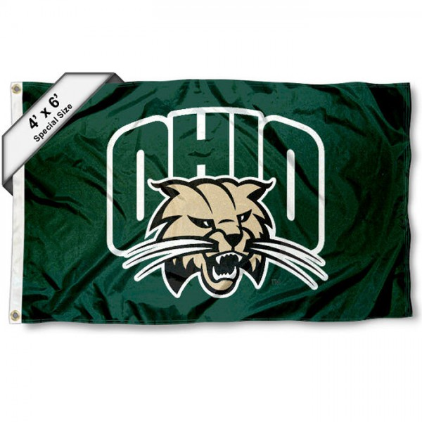 Ohio University Large 4x6 Flag measures 4x6 feet, is made thick woven polyester, has quadruple stitched flyends, two metal grommets, and offers screen printed NCAA Ohio University Large athletic logos and insignias. Our Ohio University Large 4x6 Flag is officially licensed by Ohio University and the NCAA.