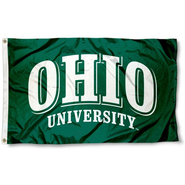 Ohio University Logo Flag measures 3'x5', is made of 100% poly, has quadruple stitched sewing, two metal grommets, and has double sided Ohio University Logo logos. Our Ohio University Logo Flag is officially licensed by the selected university and the NCAA