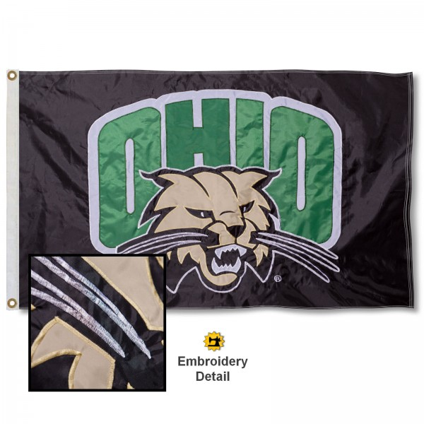 Ohio University Nylon Embroidered Flag measures 3'x5', is made of 100% nylon, has quadruple flyends, two metal grommets, and has double sided appliqued and embroidered University logos. These Ohio University 3x5 Flags are officially licensed by the selected university and the NCAA.