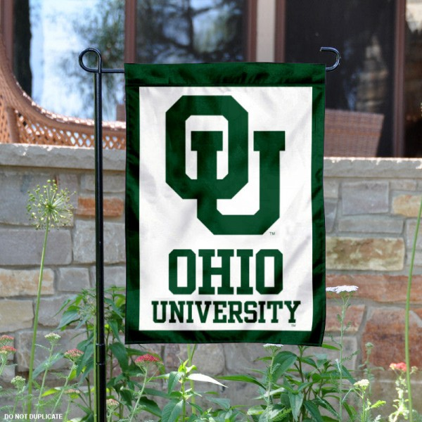 Ohio University White Garden Flag is 13x18 inches in size, is made of 2-layer polyester, screen printed university athletic logos and lettering, and is readable and viewable correctly on both sides. Available same day shipping, our Ohio University White Garden Flag is officially licensed and approved by the university and the NCAA.