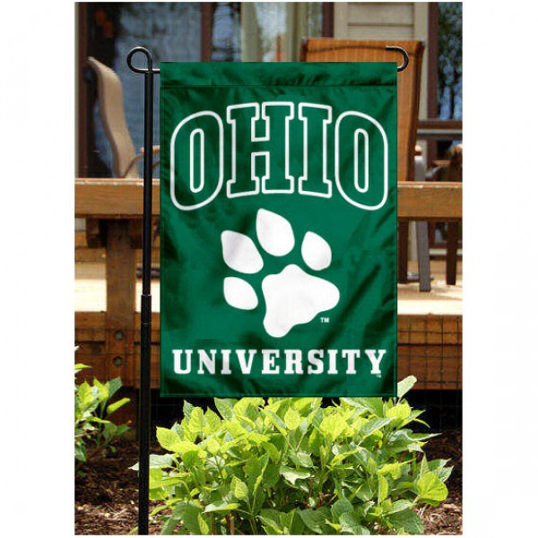 Ohio University Yard Flag is 13x18 inches in size, is made of 2-layer polyester, screen printed Ohio University athletic logos and lettering. Available with Same Day Express Shipping, Our Ohio University Yard Flag is officially licensed and approved by Ohio University and the NCAA.