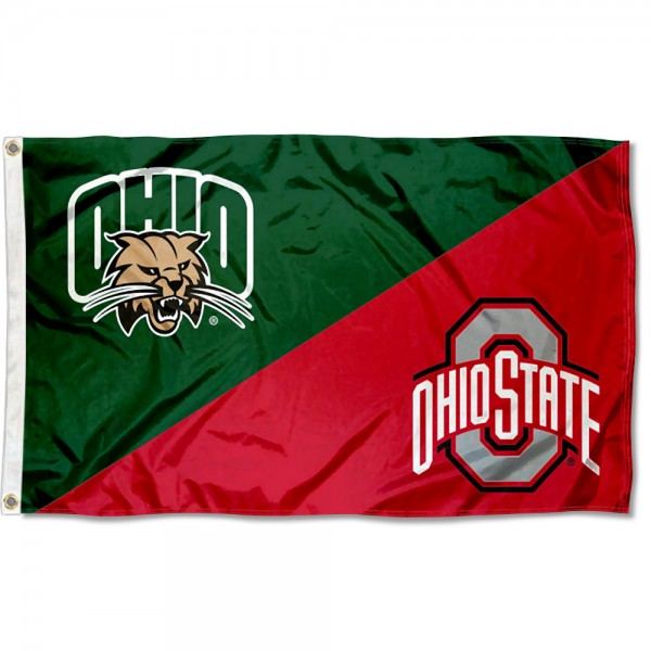 Ohio vs Ohio State House Divided 3x5 Flag sizes at 3x5 feet, is made of 100% polyester, has quadruple-stitched fly ends, and the university logos are screen printed into the Ohio vs Ohio State House Divided 3x5 Flag. The Ohio vs Ohio State House Divided 3x5 Flag is approved by the NCAA and the selected universities.