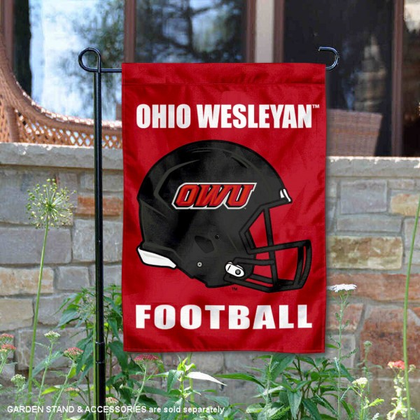 Ohio Wesleyan Battling Bishops Helmet Yard Garden Flag is 13x18 inches in size, is made of 2-layer polyester with Liner, screen printed university athletic logos and lettering, and is readable and viewable correctly on both sides. Available same day shipping, our Ohio Wesleyan Battling Bishops Helmet Yard Garden Flag is officially licensed and approved by the university and the NCAA.