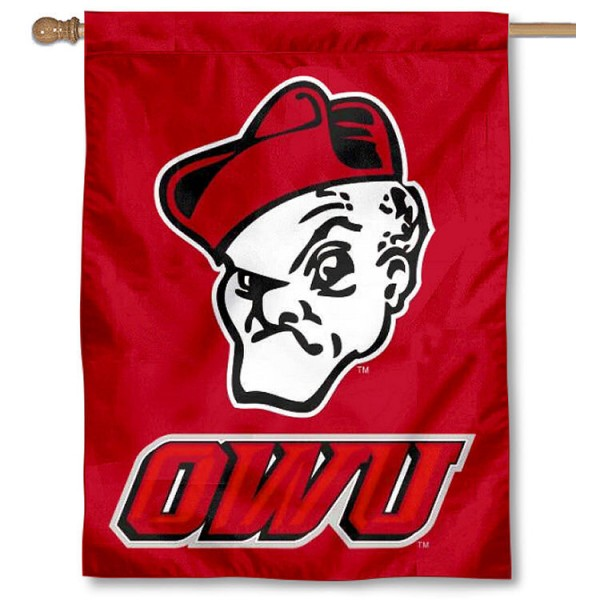 Ohio Wesleyan University Banner Flag is a vertical house flag which measures 30x40 inches, is made of 2 ply 100% polyester, offers dye sublimated NCAA team insignias, and has a top pole sleeve to hang vertically. Our Ohio Wesleyan University Banner Flag is officially licensed by the selected university and the NCAA.