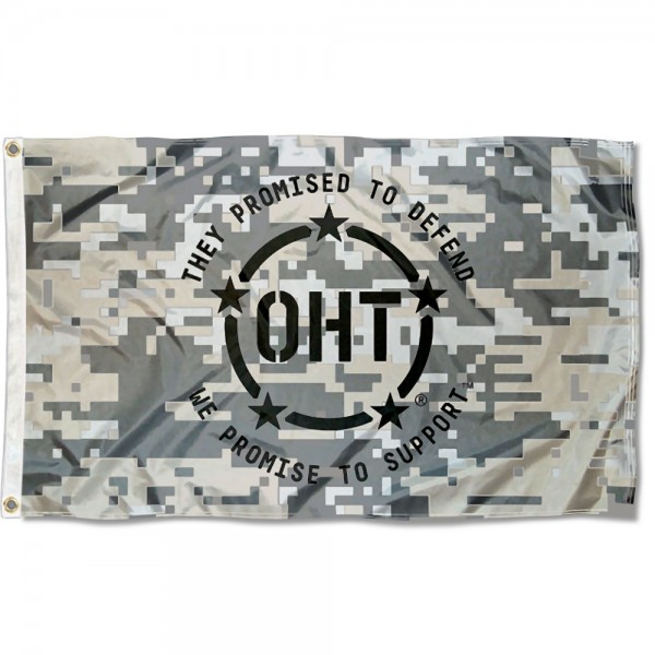OHT Operation Hat Trick Camo Flag measures 3'x5', is made of 100% poly, has quadruple stitched sewing, two metal grommets, and has double sided logos. Our OHT Operation Hat Trick Camo Flag is officially licensed.
