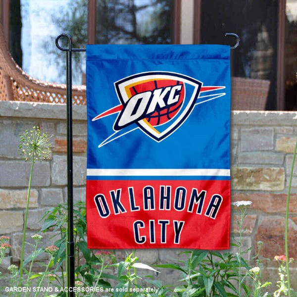 OK City Thunder Garden Flag is 12.5x18 inches in size, is made of 2-ply polyester, and has two sided screen printed logos and lettering. Available with Express Next Day Shipping, our OK City Thunder Garden Flag is NBA Genuine Merchandise and is double sided.