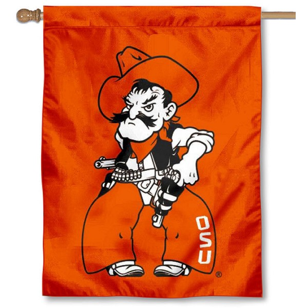 OK State Pistol Pete Logo Banner Flag is a vertical house flag which measures 30x40 inches, is made of 2 ply 100% polyester, offers dye sublimated NCAA team insignias, and has a top pole sleeve to hang vertically. Our OK State Pistol Pete Logo Banner Flag is officially licensed by the selected university and the NCAA.