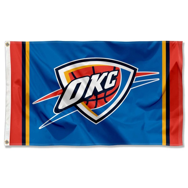 The Oklahoma City Thunder Blue Team Flag is four-stitched bordered, double sided, made of poly, 3'x5', and has two grommets. These Oklahoma City Thunder Blue Team Flags are NBA Genuine Merchandise.