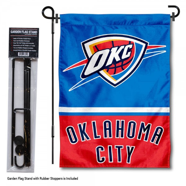 "Oklahoma City Thunder Garden Flag and Flagpole Stand kit includes our 12.5""x18"" garden banner which is made of 2 ply poly with liner and has screen printed licensed logos. Also, a 40""x17"" inch garden flag stand is included so your Oklahoma City Thunder Garden Flag and Flagpole Stand is ready to be displayed with no tools needed for setup. Fast Overnight Shipping is offered and the flag is Officially Licensed and Approved by the selected team."
