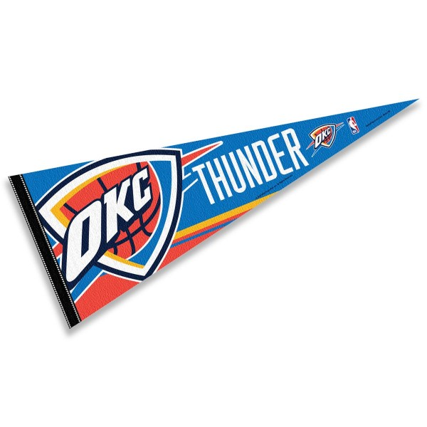 This Oklahoma City Thunder Pennant measures 12x30 inches, is constructed of felt, and is single sided screen printed with the Oklahoma City Thunder logo and insignia. Each Oklahoma City Thunder Pennant is a NBA Officially Licensed product.