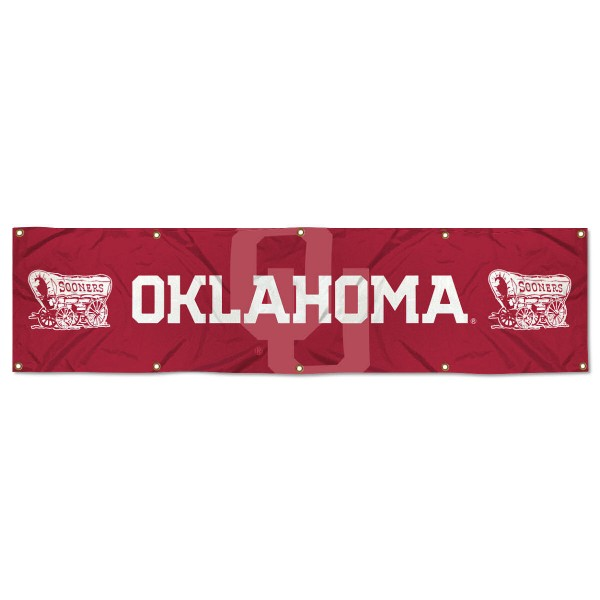 Oklahoma Sooners 8 Foot Large Banner measures 2x8 feet and displays Oklahoma Sooners logos. Our Oklahoma Sooners 8 Foot Large Banner is made of thick polyester and ten grommets around the perimeter for hanging securely. These banners for Oklahoma Sooners are officially licensed by the NCAA.