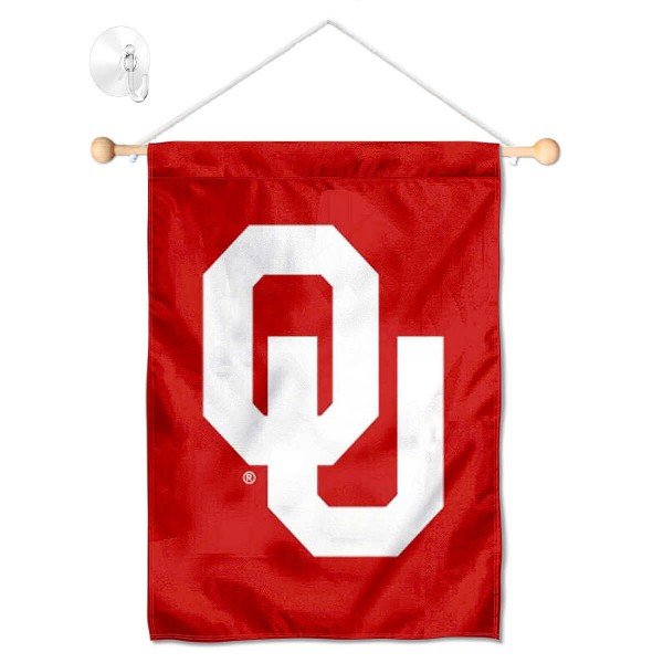 "Oklahoma Sooners Banner with Suction Cup kit includes our 13""x18"" garden banner which is made of 2 ply poly with liner and has screen printed licensed logos. Also, a 17"" wide banner pole with suction cup is included so your Oklahoma Sooners Banner with Suction Cup is ready to be displayed with no tools needed for setup. Fast Overnight Shipping is offered and the flag is Officially Licensed and Approved by the selected team."