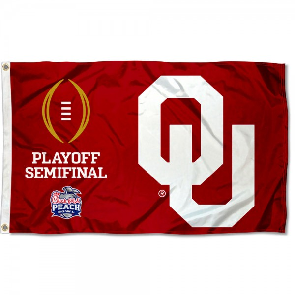 Oklahoma Sooners CFP College Football Playoff Semifinal Game Flag measures 3x5 feet, is made of 100% polyester, offers quadruple stitched flyends, has two metal grommets, and offers screen printed NCAA team logos and insignias. Our Oklahoma Sooners CFP College Football Playoff Semifinal Game Flag is officially licensed by the selected university and NCAA.