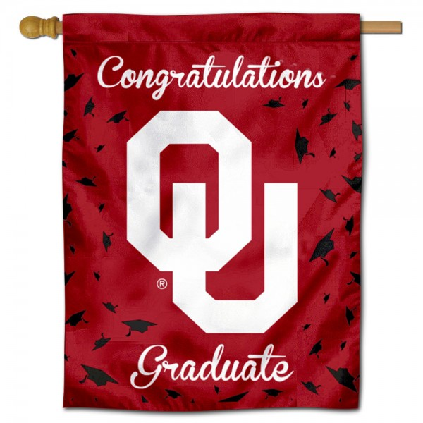 Oklahoma Sooners Congratulations Graduate Flag measures 30x40 inches, is made of poly, has a top hanging sleeve, and offers dye sublimated Oklahoma Sooners logos. This Decorative Oklahoma Sooners Congratulations Graduate House Flag is officially licensed by the NCAA.