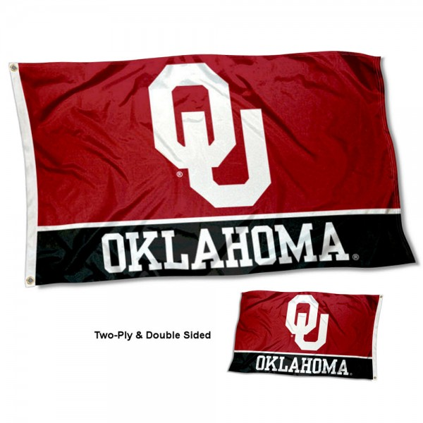 Oklahoma Sooners Double Sided Flag measures 3'x5', is made of 2 layer 100% polyester, has quadruple stitched flyends for durability, and is readable correctly on both sides. Our Oklahoma Sooners Double Sided Flag is officially licensed by the university, school, and the NCAA.