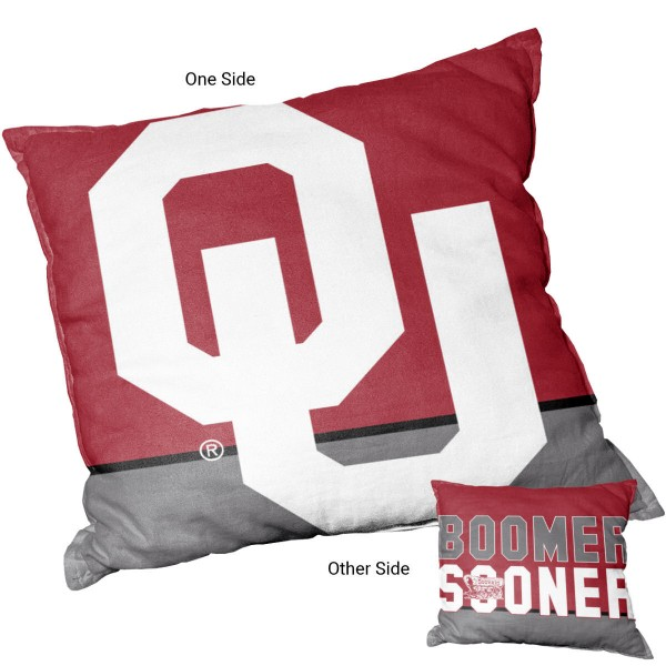 Oklahoma Sooners Double Sided Pillow measures 15 x 15 inches square, has a cover made of 600D Thick Polyester, included New polyester fill, and is double sided screen printed with a unique logo on each side. Each college pillow includes Officially Licensed Logos and Insignias.