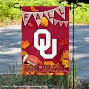 Oklahoma Sooners Fall Football Autumn Leaves Decorative Garden Flag
