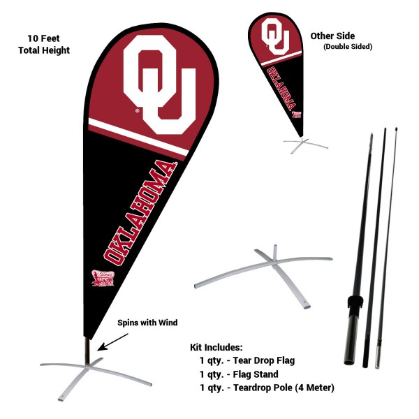 Oklahoma Sooners Feather Flag Kit measures a tall 10' when fully assembled. The kit includes a Feather Flag, 3 Piece Fiberglass Pole, and matching Metal Feather Flag Stand. Our Oklahoma Sooners Feather Flag Kit easily assembles and is NCAA Officially Licensed by the selected school or university.