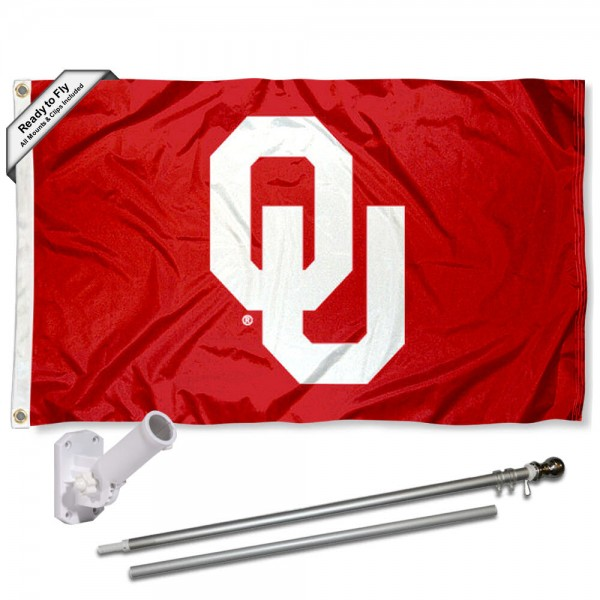 Our Oklahoma Sooners Flag Pole and Bracket Kit includes the flag as shown and the recommended flagpole and flag bracket. The flag is made of polyester, has quad-stitched flyends, and the NCAA Licensed team logos are double sided screen printed. The flagpole and bracket are made of rust proof aluminum and includes all hardware so this kit is ready to install and fly.