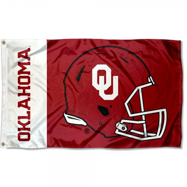 Oklahoma Sooners Football Helmet Flag measures 3x5 feet, is made of 100% polyester, offers quadruple stitched flyends, has two metal grommets, and offers screen printed NCAA team logos and insignias. Our Oklahoma Sooners Football Helmet Flag is officially licensed by the selected university and NCAA.