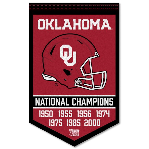 Oklahoma Sooners Football National Champions Banner consists of our sports dynasty year banner which measures 15x24 inches, is constructed of rigid felt, is single sided imprinted, and offers a pennant sleeve for insertion of a pennant stick, if desired. This sports banner is a unique collectible and keepsake of the legacy game and is Officially Licensed and University, School, and College Approved.