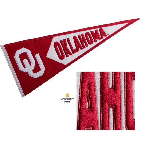 Oklahoma Sooners Genuine Wool Pennant consists of our full size 13x32 inch Winning Streak Sports wool college pennant. The logos, lettering and insignia is quality embroidered and appliqued, feature a alternate logo color header, and has sewn wool perimeter. This Oklahoma Sooners College Pennant Pennant is Officially Licensed and University Approved with Overnight Next Day Shipping.