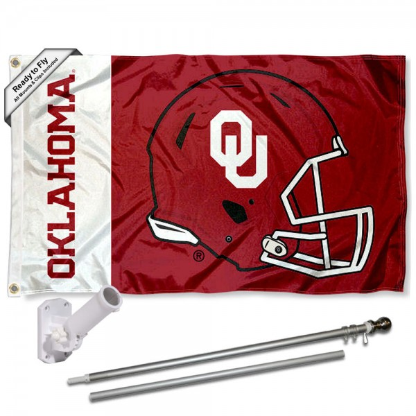 Our Oklahoma Sooners Helmet Flag Pole and Bracket Kit includes the flag as shown and the recommended flagpole and flag bracket. The flag is made of polyester, has quad-stitched flyends, and the NCAA Licensed team logos are double sided screen printed. The flagpole and bracket are made of rust proof aluminum and includes all hardware so this kit is ready to install and fly.