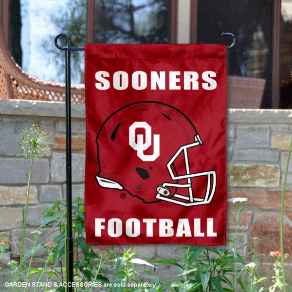 Oklahoma Sooners Helmet Yard Garden Flag is 13x18 inches in size, is made of 2-layer polyester with Liner, screen printed university athletic logos and lettering, and is readable and viewable correctly on both sides. Available same day shipping, our Oklahoma Sooners Helmet Yard Garden Flag is officially licensed and approved by the university and the NCAA.