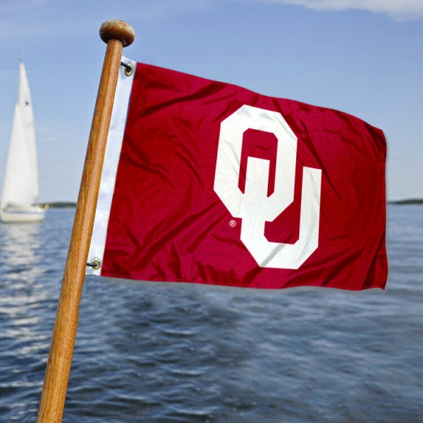 Oklahoma Sooners Nautical Flag measures 12x18 inches, is made of two-ply polyesters, offers quadruple stitched flyends for durability, has two metal grommets, and is viewable from both sides. Our Oklahoma Sooners Nautical Flag is officially licensed by the selected university and the NCAA and can be used as a motorcycle flag, golf cart flag, or ATV flag