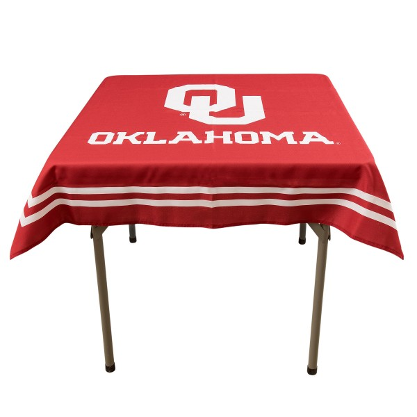 Oklahoma Sooners Table Cloth measures 48 x 48 inches, is made of 100% Polyester, seamless one-piece construction, and is perfect for any tailgating table, card table, or wedding table overlay. Each includes Officially Licensed Logos and Insignias.