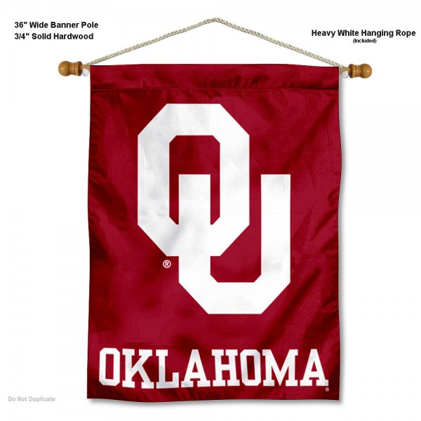 "Oklahoma Sooners Wall Banner is constructed of polyester material, measures a large 30""x40"", offers screen printed athletic logos, and includes a sturdy 3/4"" diameter and 36"" wide banner pole and hanging cord. Our Oklahoma Sooners Wall Banner is Officially Licensed by the selected college and NCAA."