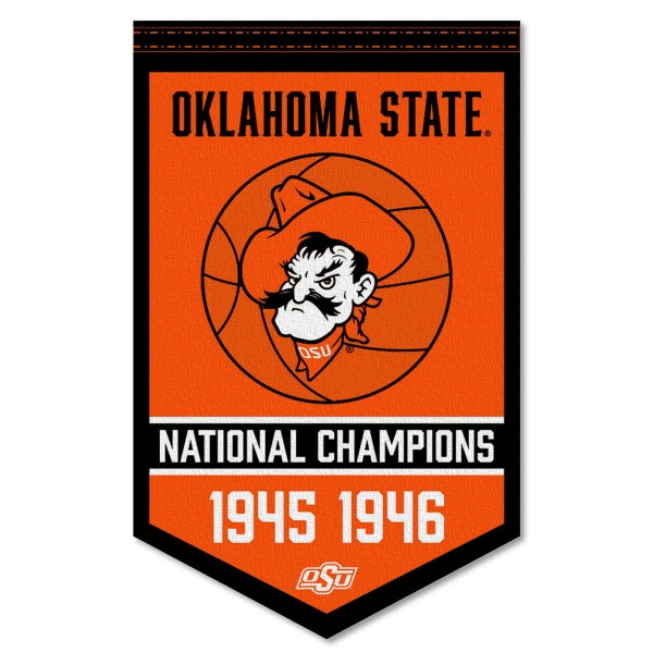 Oklahoma State Cowboys Basketball National Champions Banner consists of our sports dynasty year banner which measures 15x24 inches, is constructed of rigid felt, is single sided imprinted, and offers a pennant sleeve for insertion of a pennant stick, if desired. This sports banner is a unique collectible and keepsake of the legacy game and is Officially Licensed and University, School, and College Approved.