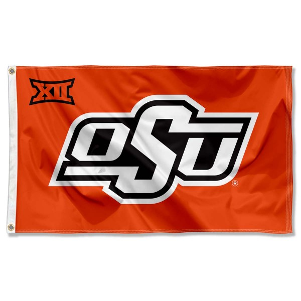 Oklahoma State Cowboys Big 12 Flag measures 3'x5', is made of 100% poly, has quadruple stitched sewing, two metal grommets, and has double sided Team University logos. Our Oklahoma State Cowboys Big 12 Flag is officially licensed by the selected university and the NCAA.