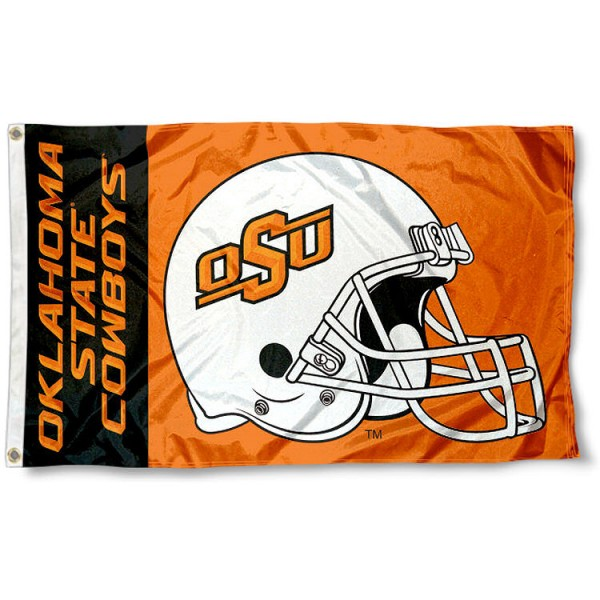 Oklahoma State Cowboys College Football Flag measures 3x5 feet, is made of 100% polyester, offers a double stitched perimeter, has two metal grommets, and offers dye sublimated NCAA team logos and insignias. Our Oklahoma State Cowboys College Football Flag is officially licensed by the selected university and NCAA