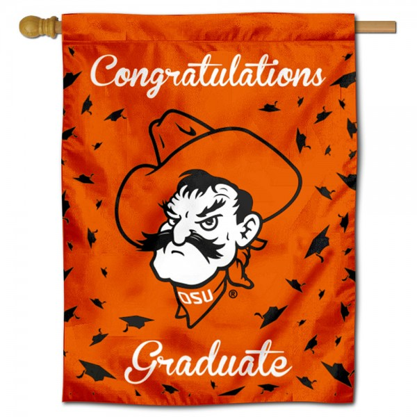 Oklahoma State Cowboys Congratulations Graduate Flag measures 30x40 inches, is made of poly, has a top hanging sleeve, and offers dye sublimated Oklahoma State Cowboys logos. This Decorative Oklahoma State Cowboys Congratulations Graduate House Flag is officially licensed by the NCAA.