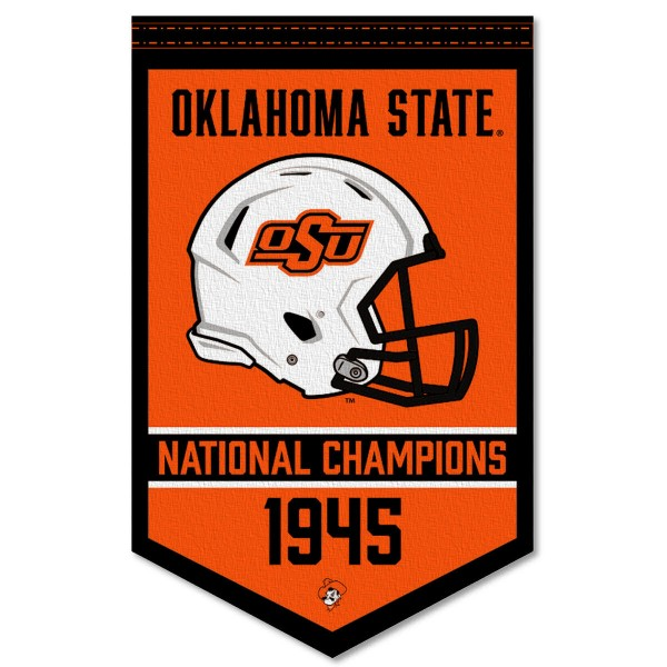 Oklahoma State Cowboys Football National Champions Banner consists of our sports dynasty year banner which measures 15x24 inches, is constructed of rigid felt, is single sided imprinted, and offers a pennant sleeve for insertion of a pennant stick, if desired. This sports banner is a unique collectible and keepsake of the legacy game and is Officially Licensed and University, School, and College Approved.