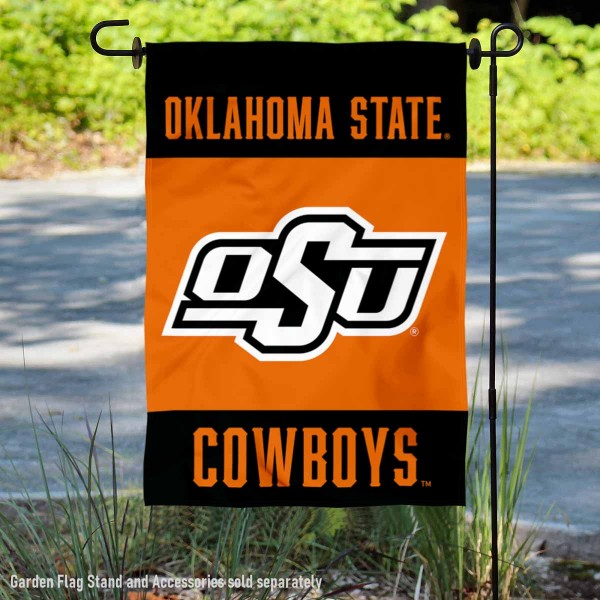 Oklahoma State Cowboys Garden Flag is 13x18 inches in size, is made of 2-layer polyester, screen printed university athletic logos and lettering, and is readable and viewable correctly on both sides. Available same day shipping, our Oklahoma State Cowboys Garden Flag is officially licensed and approved by the university and the NCAA.
