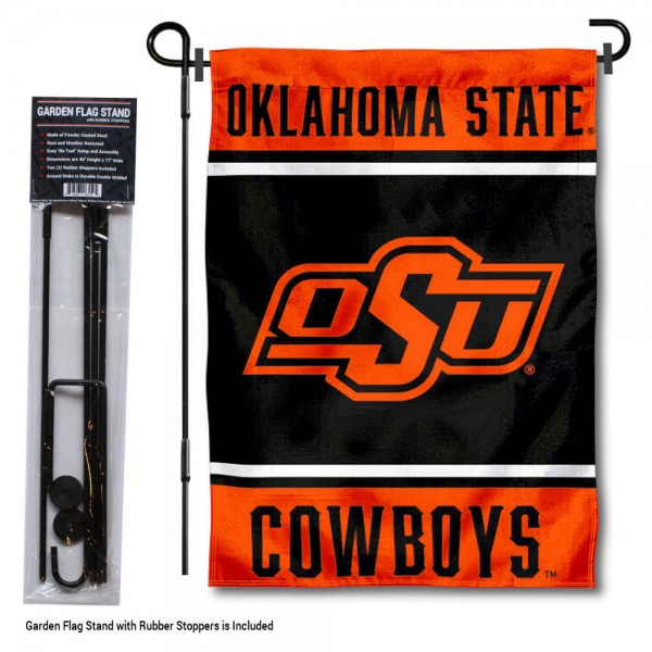 """Oklahoma State Cowboys Garden Flag and Pole Stand Holder kit includes our 13""""x18"""" garden banner which is made of 2 ply poly with liner and has screen printed licensed logos. Also, a 40""""x17"""" inch garden flag stand is included so your Oklahoma State Cowboys Garden Flag and Pole Stand Holder is ready to be displayed with no tools needed for setup. Fast Overnight Shipping is offered and the flag is Officially Licensed and Approved by the selected team."""