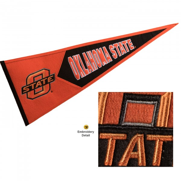 Oklahoma State Cowboys Genuine Wool Pennant consists of our full size 13x32 inch Winning Streak Sports wool college pennant. The logos, lettering and insignia is quality embroidered and appliqued, feature a alternate logo color header, and has sewn wool perimeter. This Oklahoma State Cowboys College Pennant Pennant is Officially Licensed and University Approved with Overnight Next Day Shipping.