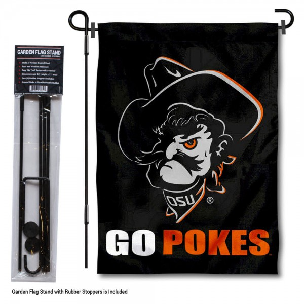 """Oklahoma State Cowboys Go Pokes Garden Flag and Pole Stand Mount kit includes our 13""""x18"""" garden banner which is made of 2 ply poly with liner and has screen printed licensed logos. Also, a 40""""x17"""" inch garden flag stand is included so your Oklahoma State Cowboys Go Pokes Garden Flag and Pole Stand Mount is ready to be displayed with no tools needed for setup. Fast Overnight Shipping is offered and the flag is Officially Licensed and Approved by the selected team."""